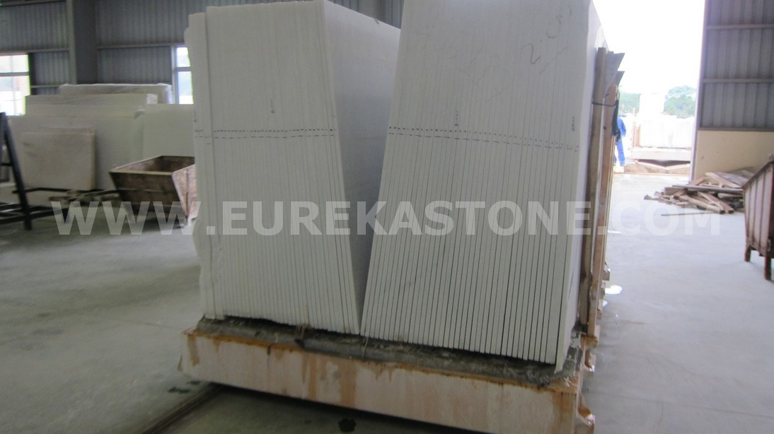 Unpolished white marble slab