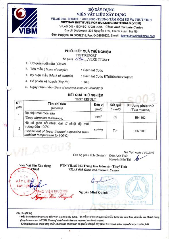 Test report of Marble